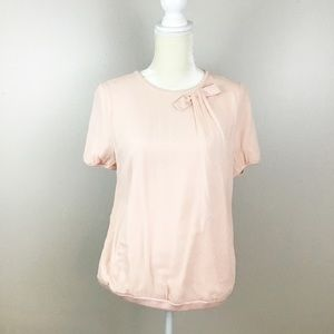 Ann Taylor Petite Silk Pink Blouse with Bow NWOT
